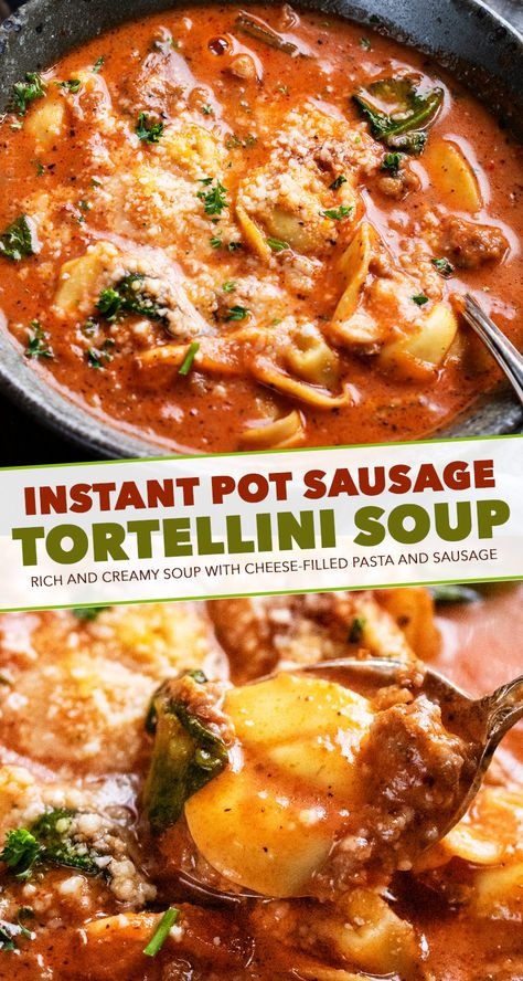 This sausage and tortellini soup is a bowl full of absolute comfort! It's loaded with bold flavors, plenty of sausage and cheese-filled pasta, and there's only 5 minutes of pressure cooking time! #tortellini #soup #sausage #Italian #instantpot #pressurecooker #instapot #easyrecipe #dinner