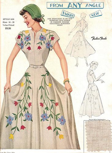 """love how the decoration wraps around to the back. Fashion Frocks 1659 """"From Any Angle ... Smart ... New"""""""