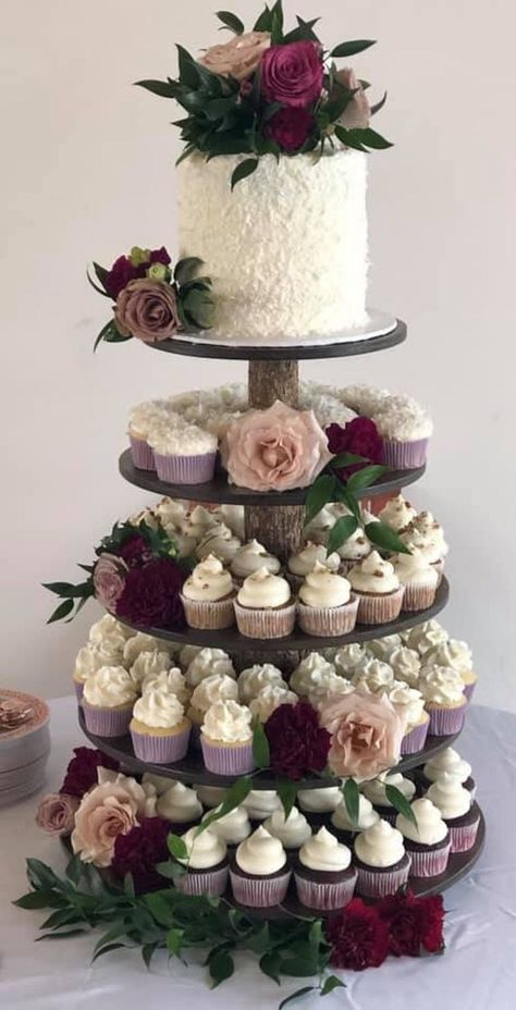 Wedding Cakes Discover Rustic Cupcake Stand 5 Tier (Tower Holder) 75 Cupcakes 150 Donuts for Wedding Birthday Shower Anniversary Party Pastries - Wood Wooden