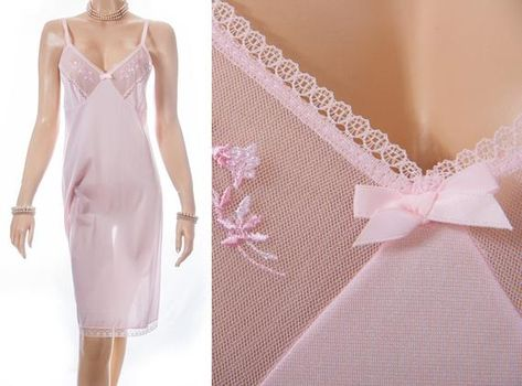 As new 70's vintage 'St Michael Blue Label' sheer shiny baby pink nylon and pretty embroidery detail