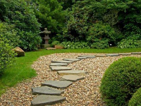 Allee Jardin En Gravier Ardoise Et Bois Creer Une Allee Pietonne Avec Images Jardin En Gravier Allees Jardin Decoration Jardin Exterieur