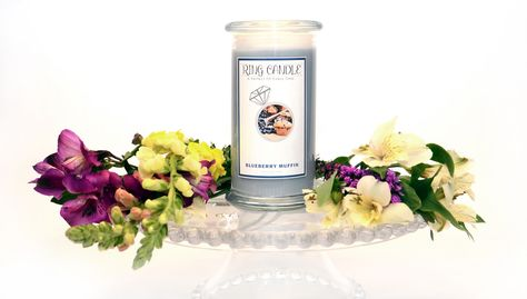 Blueberry Muffin Ring Candle  With our new Ring Candles you can now pick your own ring size =) A Perfect Fit Every Time!   Our Blueberry Muffin Ring Candle is a delightful accord of juicy blueberries, warm butter cake & vanilla.