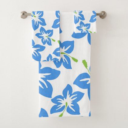 Modern Contemporary Hibiscus Pattern Bath Towel Set Zazzle Com