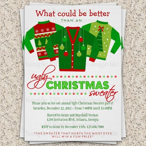 Ugly Sweater Christmas Party Invitations Template Free crafts