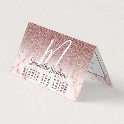 Girly Professional Pinky Glittery Monogram Business Card Zazzle Com Salon Business Cards Beauty Salon Business Cards Hair Business Cards