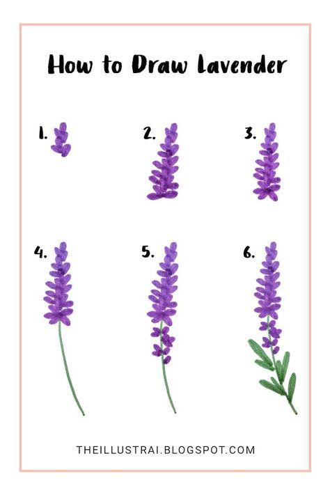 Bilder zum Nachzeichnen für Anfänger und Fortgeschrittene - Lavendel malen mit Watercolor