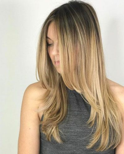 Skinny Langes Haar Brünett