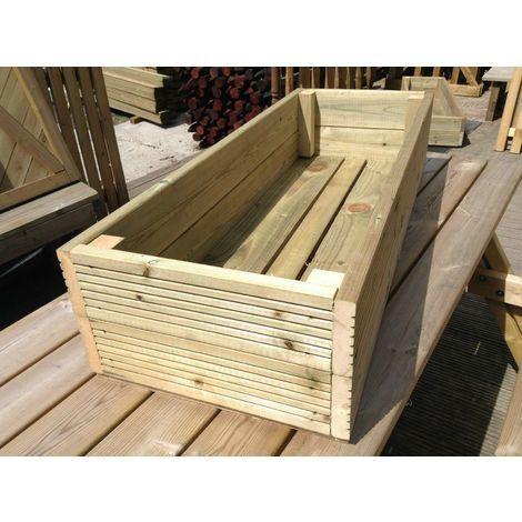 Large Decking Wooden Garden Planter Wood Trough Handmade Box 1 8
