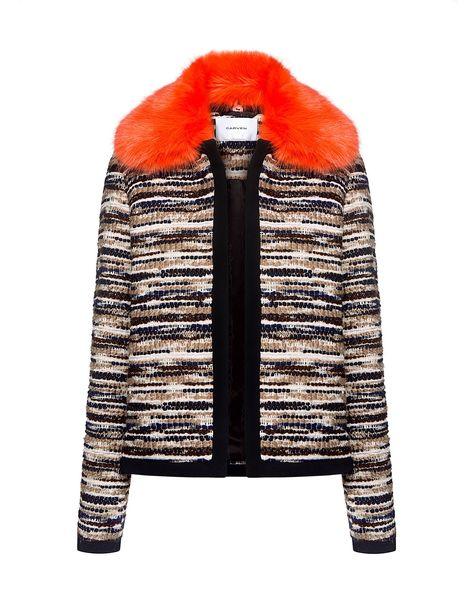 Carven Fur Collar Knit Cardigan