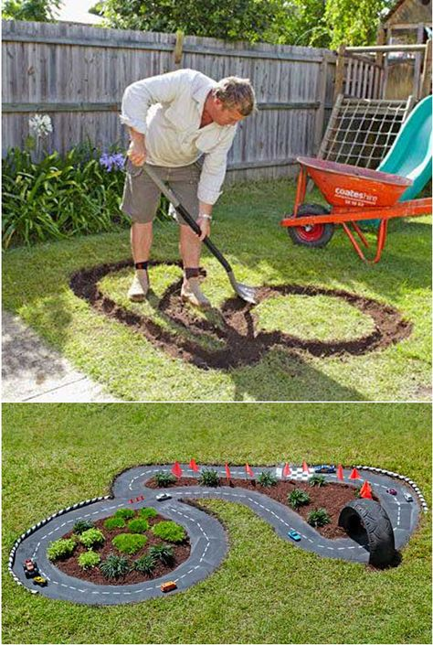 DIY Projects for Kids Inspired by Race Car Tracks 2019 Great way to get them playing outdoors! The road is cement which has been painted black. The post DIY Projects for Kids Inspired by Race Car Tracks 2019 appeared first on Backyard Diy. Diy Projects For Kids, Outdoor Projects, Diy For Kids, Cool Kids, Crafts For Kids, Garden Projects, Backyard Projects, Kids Fun, Diy Garden Ideas For Kids