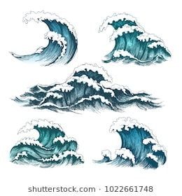 Sea Waves Vintage Cartoon Ocean Tidal Storm Waves Isolated On White Background For Surfing And Seascape Vector I Waves Sketch Wave Illustration Ocean Drawing