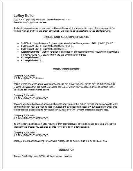 Hybrid Resume Format Example Resume Format Examples Resume Format Resume Examples