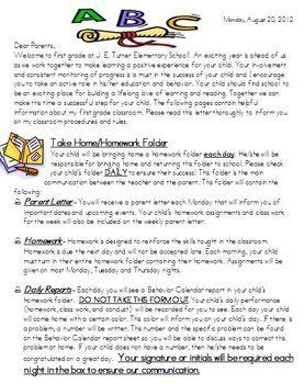 Beginning of School Parent Letter   Beginning Of School   Letter to