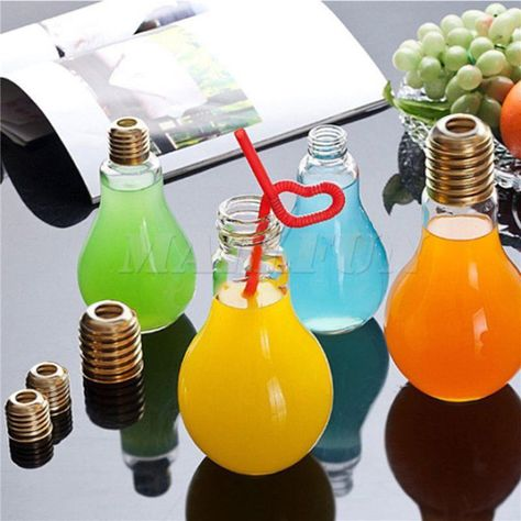 Plastic Edison Light Bulb Juice Bottle Leak-proof Drink Cup Water Bottle Mug