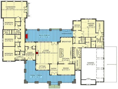 Plan 130035lls Stunning 5 Bed New American House Plan With Game Room Dream House Plans American Houses House Plans