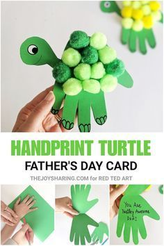 Turtle Handprint Father's Day Card - how cute is thise handprint Father's Day craft for preschoolers? kids crafts preschool Turtle Handprint Father's Day Card - Red Ted Art - Make crafting with kids easy & fun Daycare Crafts, Baby Crafts, Fun Crafts, Diy And Crafts, Arts And Crafts, Cork Crafts, Camping Crafts, Upcycled Crafts, Canvas Crafts