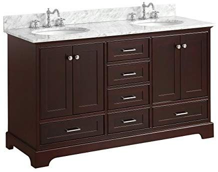Harper 60 Inch Double Bathroom Vanity Carrara Chocolate