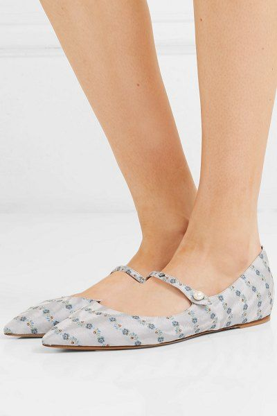 Tabitha Simmons hermione floral jacquard point toe flats