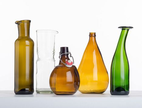 Mass-produced glass items into reformed into sculptural vessels