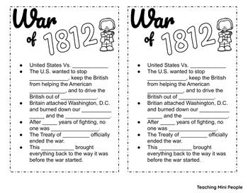War Of 1812 Anchor Chart Fill In Blanks Freebie With Images