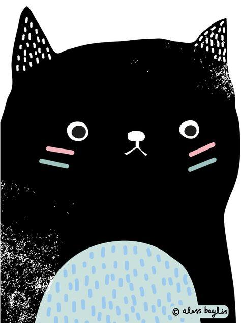 Illustration & Surface Pattern Design by Aless Baylis #cat #print #illustration