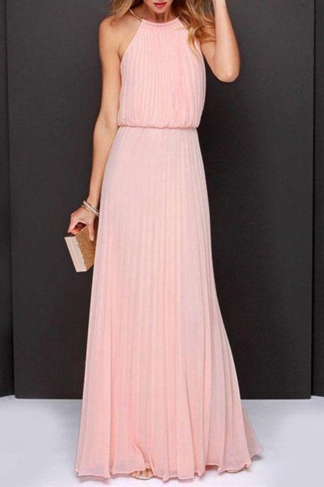 ae104114ffd42 Halter Back Hole Plain Sleeveless Maxi Dresses | שמלה in 2019 ...