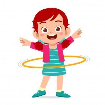 Happy Cute Little Kid Girl Play Hula Hoop Happy Kids Cute Kids Hula Hoop