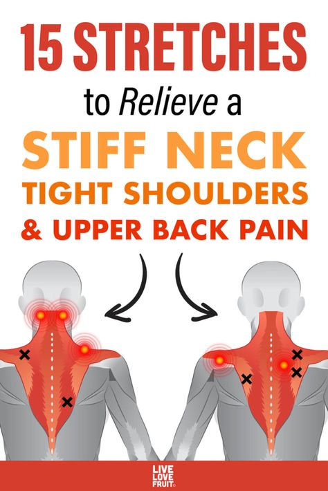 back muscles illustrating common problem areas and trigger point pain referral areas with text - 15 stretches to relieve a stiff neck, tight shoulders, and upper back pain Neck And Shoulder Exercises, Neck And Shoulder Pain, Shoulder Workout, Stiff Shoulder, Posture Exercises, Sciatica Stretches, Stiff Neck Stretches, Hip Flexor Exercises, Standing Ab Exercises
