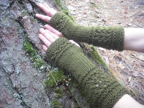 Fingerless Gloves Wool Arm Warmers Wrist Warmers by NomadicKnits