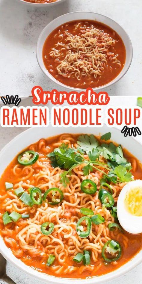 Sriracha Spicy Ramen Noodles Soup