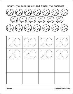Number 20 Practice Sheets For Kids Printable Worksheets Math Activities Preschool Free Worksheets For Kids