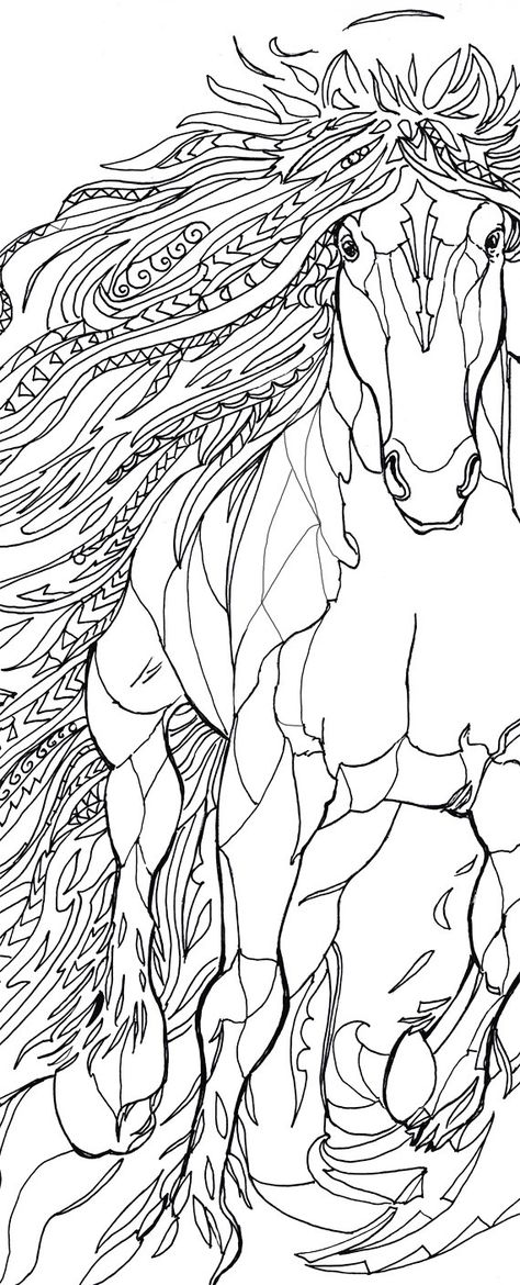 Coloring pages Horse Printable Adult Coloring book Clip Art Hand Drawn Original Zentangle Colouring Page For Download, Doodle art Picture  Original drawings by Valentina Ra.