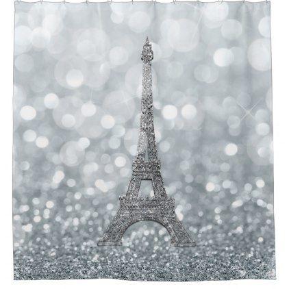 Silver Glitter Sparkle Paris Eiffel Tower Glam Shower Curtain Zazzle Com Eiffel Tower Paris Eiffel Tower Silver Glitter