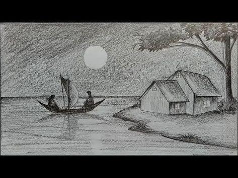 Karakalem Manzara Cizimi Nasil Yapilir Kara Kalem Manzara Calismasi Youtube Landscape Pencil Drawings Drawing Scenery Landscape Drawings