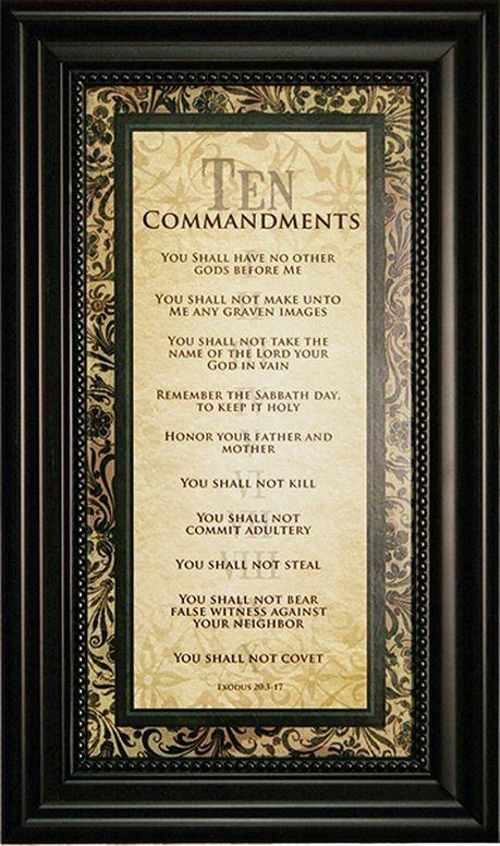 Ten Commandments 9x15 Framed Art Ten Commandments Bible Knowledge Names Of Jesus