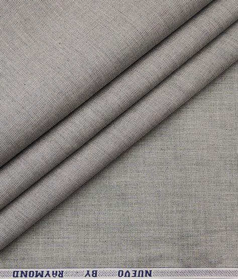 Raymond Men's 100% Premium Cotton Fil a Fil Unstitched Shirt Fabric (Light Grey)