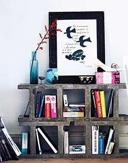 Cinder block shelves!!!