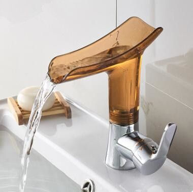 Bathroom Basin Tap 360 Rotatable Brown Glass Waterfall Spout