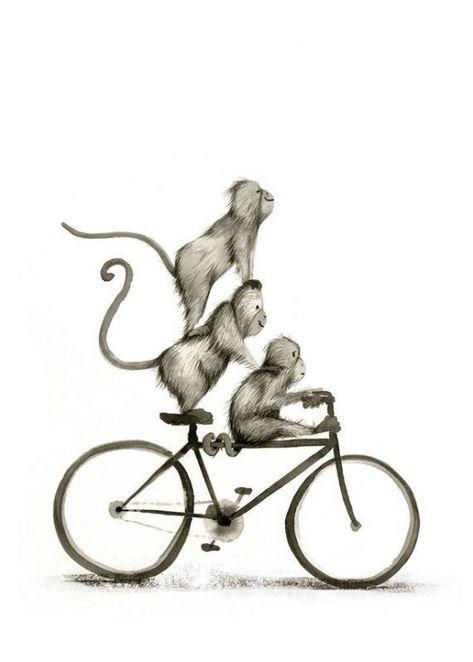A Partir Dune Serie De Primates Ambigues Equitation Divers Roues Transport Imprime Sur Du Papier De Qualite Archives Avec Des Enc In 2020 Zeichnungen Bilder Zeichnen