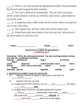 Newton S Laws Of Motion Worksheet And Review With Images