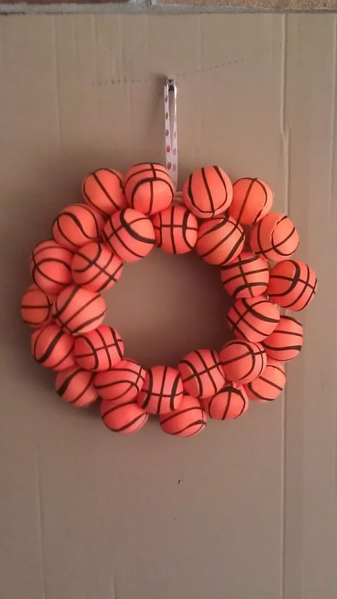basketball wreath, perfect for a coach, wife, mom, or even the men in ur life!  see all of my work on   http://www.etsy.com/shop/DeSIGNSbyShAnNoNt?ref=si_shop      and  http://www.facebook.com/pages/DeSIGNS-By-ShAnNoN/122276054542774