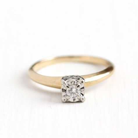 Vintage 14k Yellow White Gold 1 10 Carat Diamond Solitaire Ring Size 6 1 2 Mid Century 1950s Fine Engagement Bridal Jewelry Antique Engagement Rings White Gold Diamond Solitaire Rings