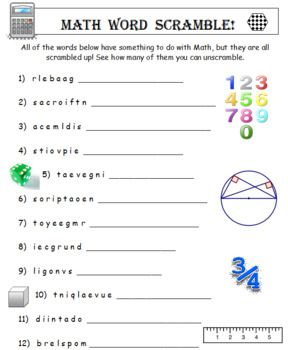 Math Word Scramble You Receive 2 Worksheets Of 25 Scrambled Up Words Plus Answers Each Of The 25 Words Has Something To Math Words Math Math Assessment
