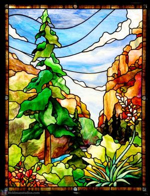 Stained Glass Front Door Window Of The Sky With Clouds Mountains