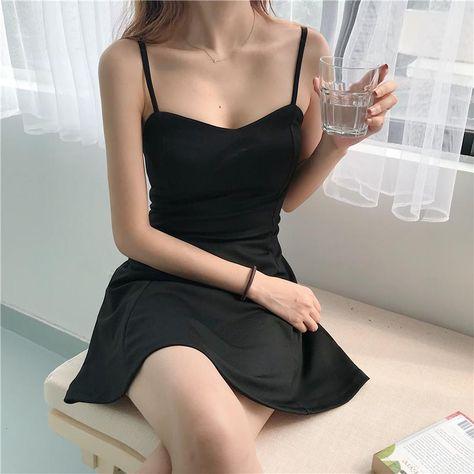 ULZZANG SOFT GIRL A-LINE BLACK MINI DRESS - Black / S