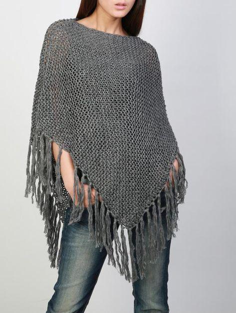 Hand knitted Little cotton poncho knit Fringe scarf knit shrug | Etsy