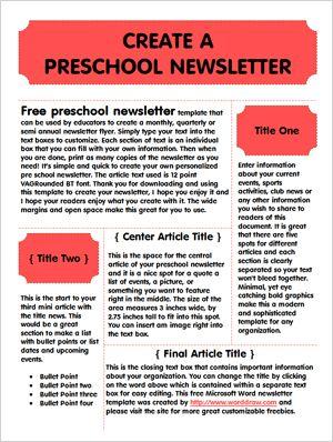 newsletter templates for preschool