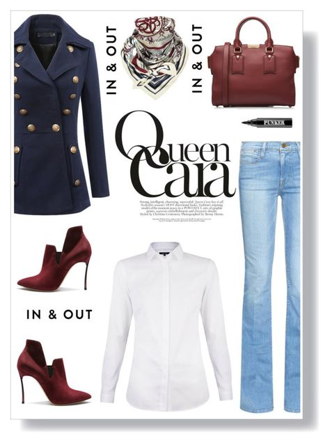 """Untitled #1054"" by ruru833 ❤ liked on Polyvore featuring Frame Denim, Hermès, Burberry, Casadei and Ardency Inn"