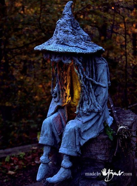 Photo of DIY Concrete Witch Ghoul – madebybarb – draped concrete spook witch