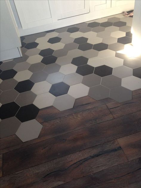 Fade Of Hex Tiles Combined And Flushed With Normal Flooring See Similar Htttp Www Decobella Co Za Kitchen Flooring Flooring Kitchen Floor Tile